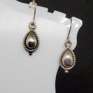 Silver Tone Hook Earrings Teardrop Drop Dangle